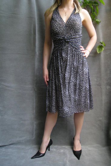 NWT$130 MICHAEL KORS Gray Leopard Print Mesh Dress M/6