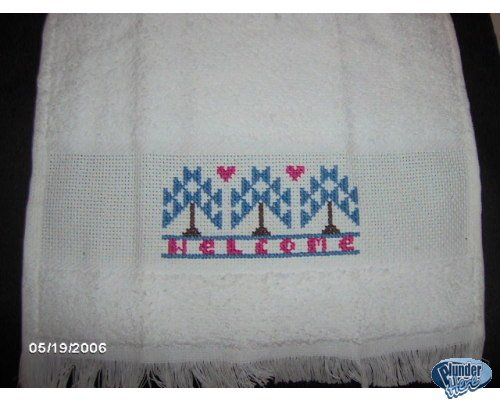 'Welcome' Completed Cross Stitch Fingertip Towel
