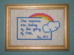 'Psalms 19:1' Finished, Framed Cross Stitch-Hangable
