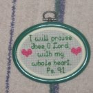 'Psalms 9:1' Finished, Framed Cross Stitch-Hangable