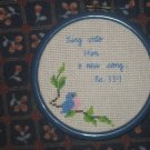 'Psalms 33:3' Finished, Framed Cross Stitch-Hangable