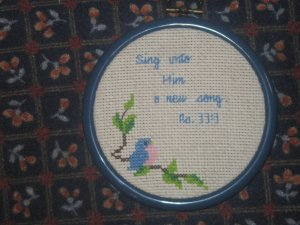 'Psalms 33:3' Finished, Framed Cross Stitch-Hangable