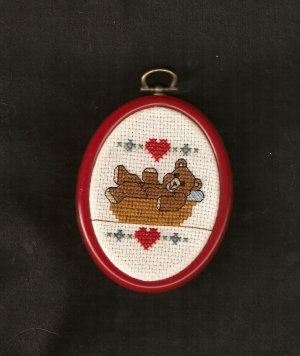 'Teddy In A Basket' Finished, Framed, Cross Stitch