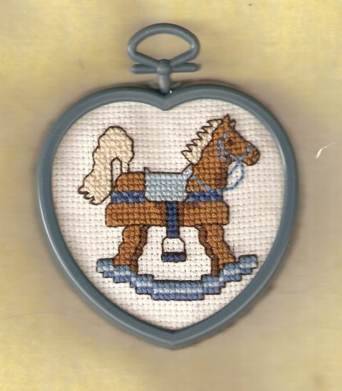 'Rocking Horse' Framed-Mini Cross Stitch-Completed