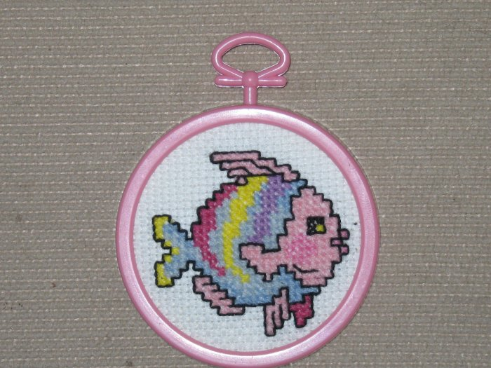 'Fishy' Completed- Framed-Mini XStitch