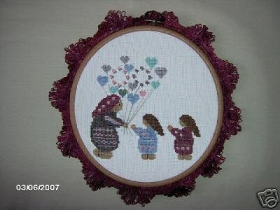 'Balloon Woman' Completed, Framed Cross Stitch, Round