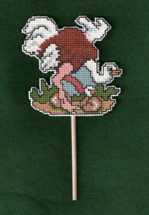 'OSTRICH' Plant Poke-Completed, Plastic Canvas X Stitch