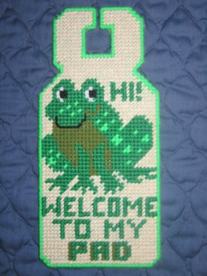 'WELCOME TO MY PAD'Completed Plastic Canvas Door Hanger