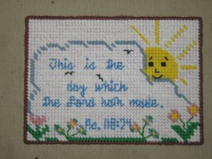 'Psalms 118:24' Completed Plastic Canvas Wall Hanging