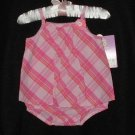 Girls Summer Cotton Romper Sunsuit 3-6 mo Carter's NWT Pink Plaid
