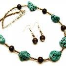 Genuine Turq. Necklace/Earrings Set