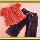 New Doll Clothing - Floral Peasant Top and Jeans for American Girl Doll