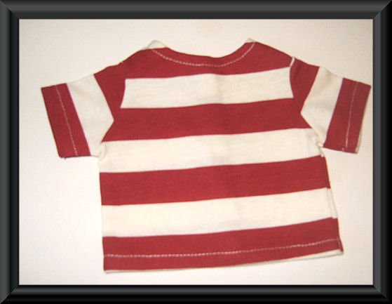 New Doll Clothing - Red and White Stripe Tee for American Girl Doll