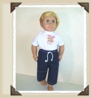 New Doll Clothing - Icecream Sundae n Denim Capri set for American Girl Doll