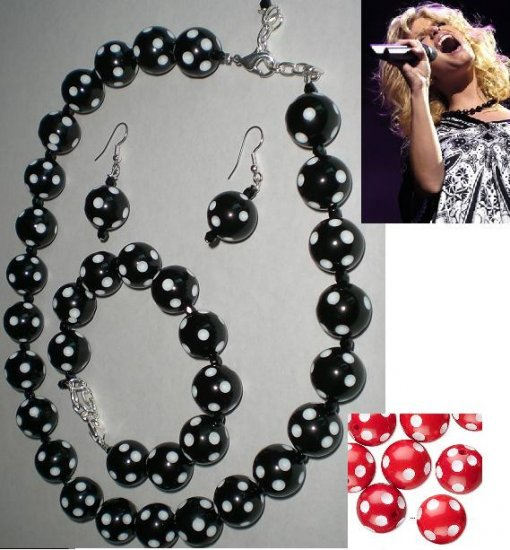 Rockabilly Retro Style Polka Dot Necklace, Bracelet and Earring Jewelry Set