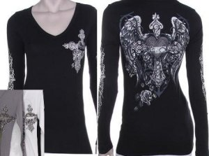 Sinful inspired Long Sleeve Wing Cross Heart Tattoo Gray Shirt