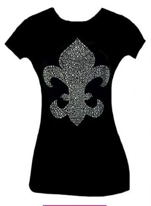 Fabulous Sparkling Rhinestone Fleur De Lis Tattoo Tee T-Shirt