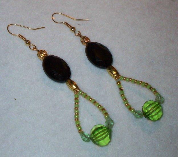 Gold, Black, Green Earrings