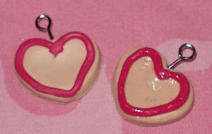 Heart shaped iced cookie clay earrings