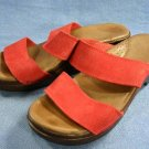 ANNA CLOGS WOMENS RED SUEDE SANDALS SLIDES 39/8 M MINT