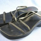 BCBG MAX AZRIA BLACK WEDGE STRAPPY SLIDE SANDALS 6 B