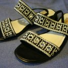 TALBOTS BLACK & WHITE WOVEN LEATHER SANDALS 6.5 B MINT