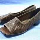 TALBOTS BROWN WOVEN LEATHER OPEN-TOE FLATS 7.5 N