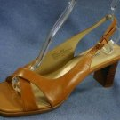 NICOLE BROWN LEATHER OPEN TOE SLINGBACK SANDALS 8.5 NEW