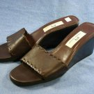 ETIENNE AIGNER BROWN LEATHER WEDGE SOLE SLIDES 10 M EUC
