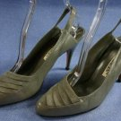 POLLY BERGEN WOMENS GRAY LEATHER SLINGBACK PUMPS 7 AA