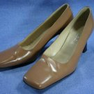 PALOMA ITALY WOMENS CAMEL ALL LEATHER PUMPS 8 M MINT