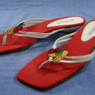 MARINO BOUTIQUE WHITE LEATHER BEADED THONG SANDALS 11 M