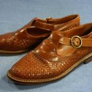 JOAN & DAVID BROWN WOVEN LEATHER FLATS SHOES 36.5/6 M