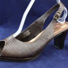 CLOUDWALKERS BROWN LEATHER SLINGBACK PUMPS 10 W NEW
