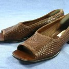 TALBOTS BROWN WOVEN LEATHER OPEN TOE FLATS 7.5 M