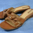 NICKELS BROWN LEATHER SLIDE SANDALS SHOES 9 M NEW