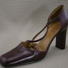 BCBG PARIS BURGUNDY LEATHER X-STRAP PUMPS 8 B MINT