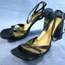 NINE WEST BLACK LEATHER PLATFORM SANDALS 8.5 M MINT