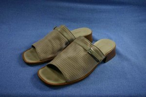 SESTO MEUCCI BEIGE FABRIC/LEATHER SLIDE SANDALS 8 M