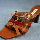 ALFANI BROWN & RED LEATHER HIGH HEEL SLIDE SANDALS 8 M