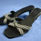 ANN TAYLOR LOFT BROWN & WHITE MID HEEL SANDALS 6 M