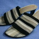 PANCALDI ITALY BLACK & TAN STRETCH SLIDE SANDALS 8.5 M