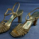 VINTAGE AMANO WOVEN GOLD STRAPPY LEATHER SANDALS 7 N