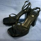 NINE WEST 9&CO BLACK SATIN PLATFORM SANDALS 7 M MINT