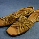 VINTAGE 60'S CARESSA TAN WOVEN SLINGBACK SANDALS 10 N