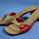 CASADEI $395 RED & TAN SLIDE SANDALS HEEL PUMP 7 M $395