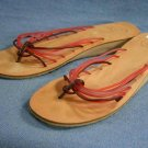 GAP JELLY STRAPPY LEATHER THONG SANDALS 9 M MINT