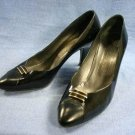 CHANTAL WOMENS BLACK PATENT LEATHER PUMPS HEELS 8.5 M