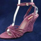 MAXSTUDIO WOMENS PURPLE SUEDE WEDGE SANDALS 10 M NEW