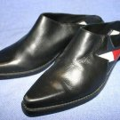 TOMMY HILFIGER BLACK LEATHER CLOG MULES SHOES 6 M